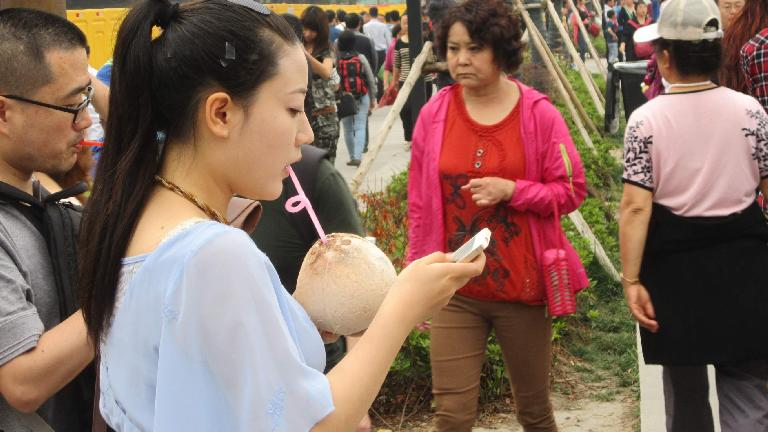 A young woman drinking out of a coconut while checking her iPhone.