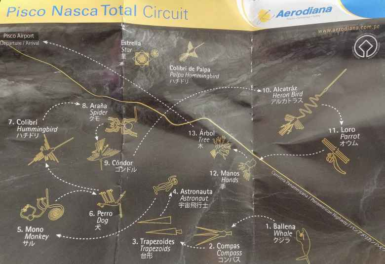 The Aerodiana Airlines flyover circuit of the Nazca Lines.