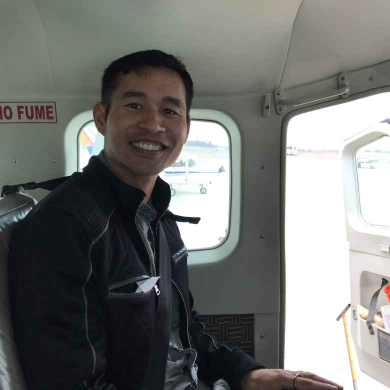 Felix Wong inside an airplane that was to fly over the Nazca Lines.