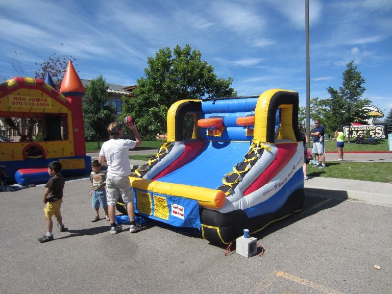Inflatable basketball hoops.