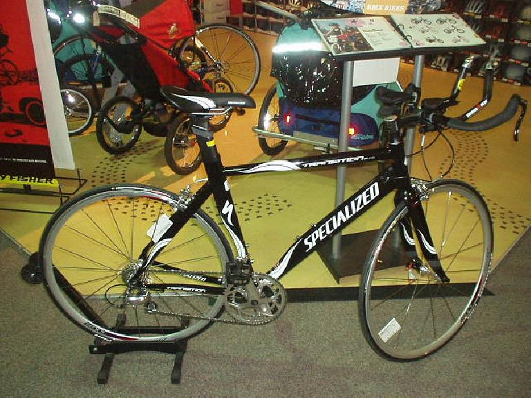 A Specialized Transition triathlon bike was on hand.