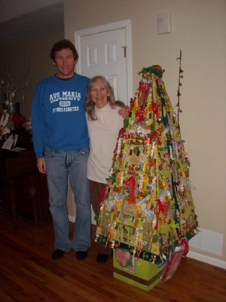 Tim and Dee by Dee's 1973 What Not Tree. (December 16, 2008)
