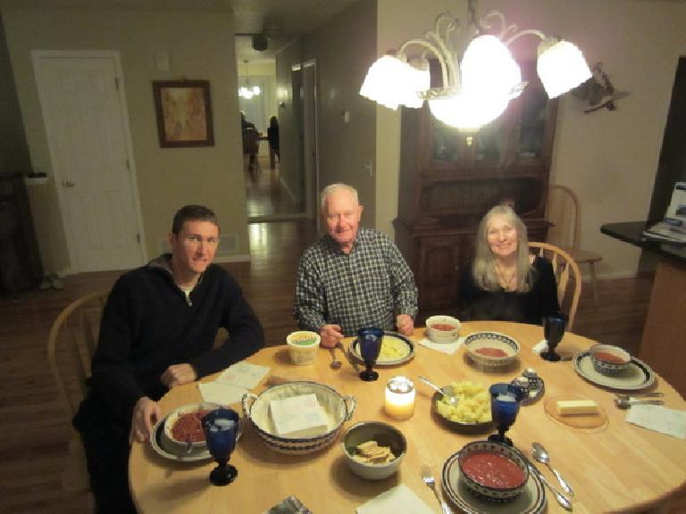 Having beef stew and potatoes with Tim, Dick and Dee at their place. (December 15, 2011)