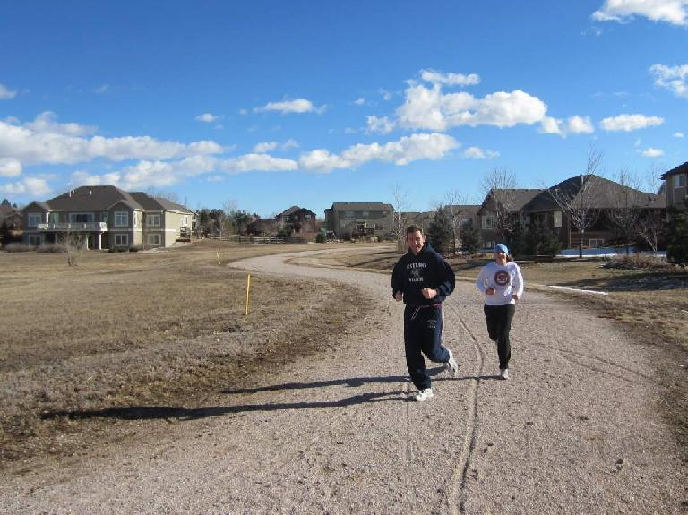 Going for a run with Tim and Kelly on the Hearthfire Trail just a few days after Xmas. (December 29, 2011)