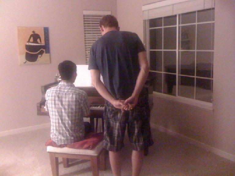 Felix Wong and Tim trying to sing some Adele on the piano. (June 18, 2012)