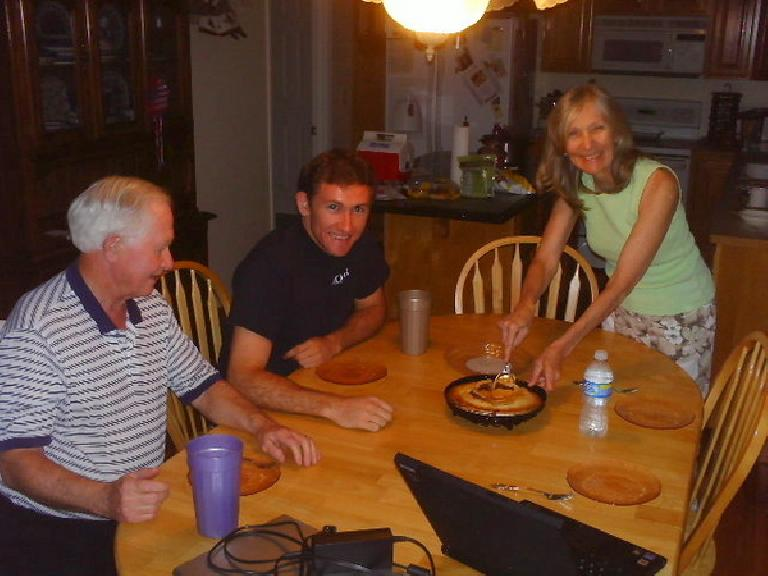 Eating a pie a brought over from Whole Foods with Dick, Tim and Dee after returning from the 2008 Tour Divide. (July 16, 2008)