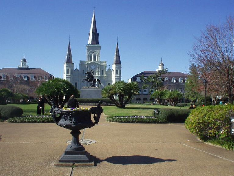 The St. Louis Cathedral was built under Spanish rule a couple of centuries ago.