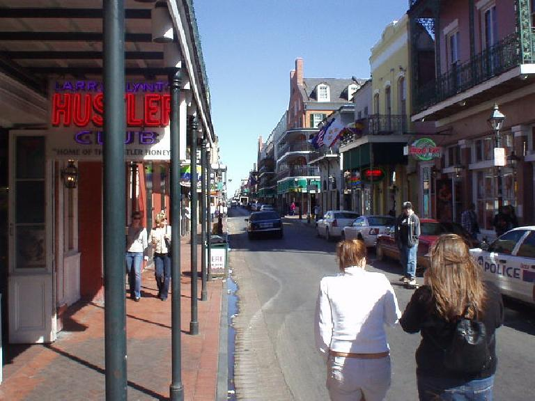 Along Bourbon St., there were many strip clubs and adult-only venues that (so I hear) have been doing fantastic after Katrina, with all of the National Guardsmen and construction workers in town.