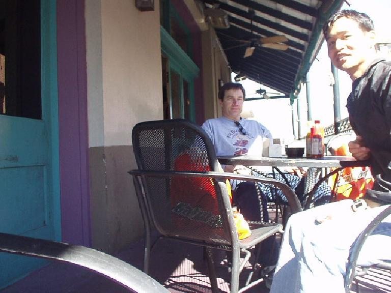 Craig and I had a crawfish and jambalaya rice dish, respectively outside the 2nd floor of a restaurant on Bourbon.