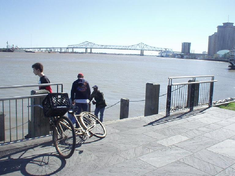 The view of a bridge over the Mississippi River along Decatur St.