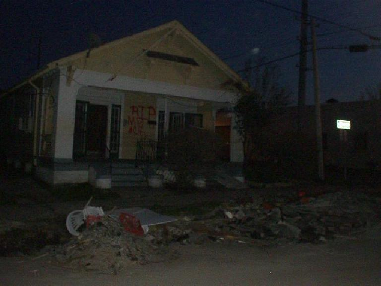 While looking for the India House Hostel southeast of midcity New Orleans, I saw just how much in shambles many of the neighborhoods were after Katrina. (February 3, 2006)