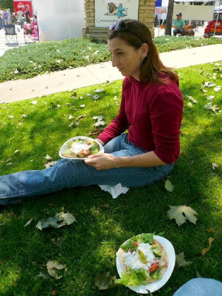 Tori and some yummy Greek food.