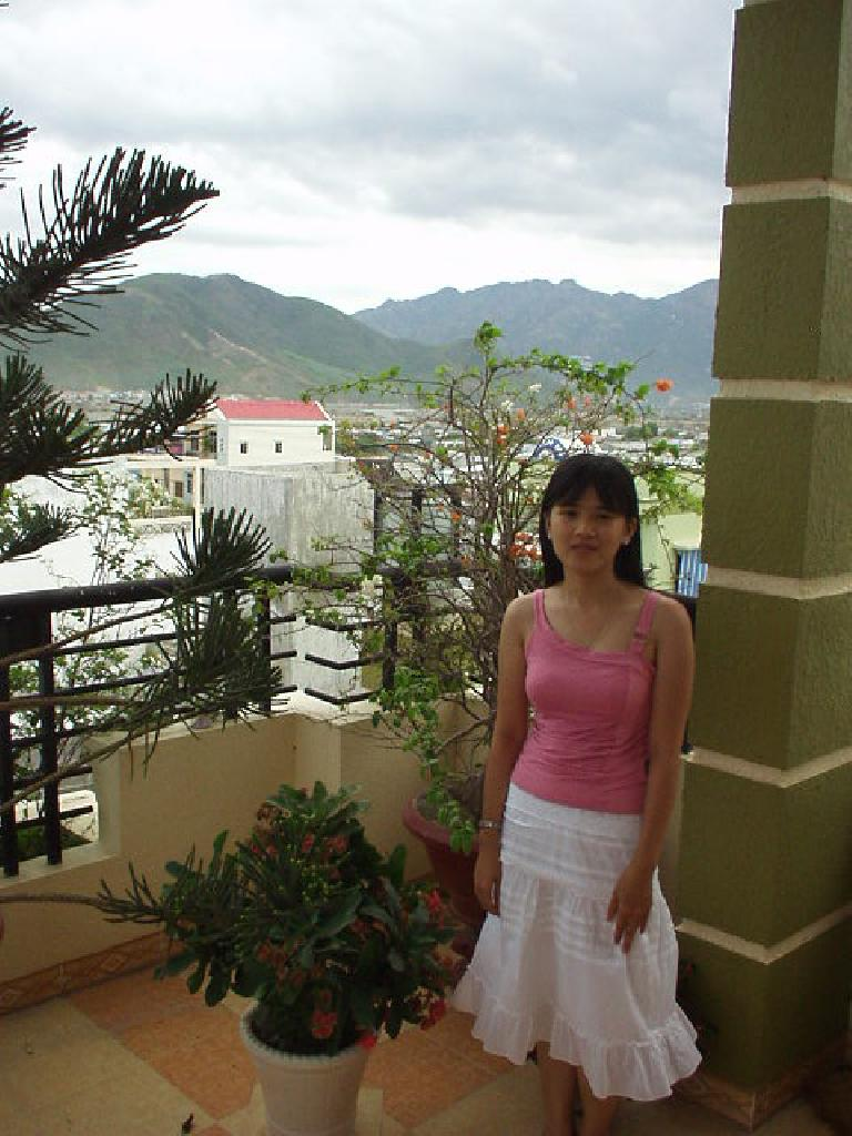 Kristy's awesome 4th-floor view of the city of Nha Trang and the mountains!