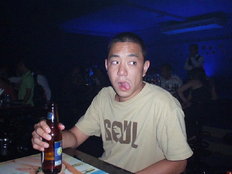 Nam enjoys a Vietnamese Tiger beer at the Discotechno in Nha Trang.