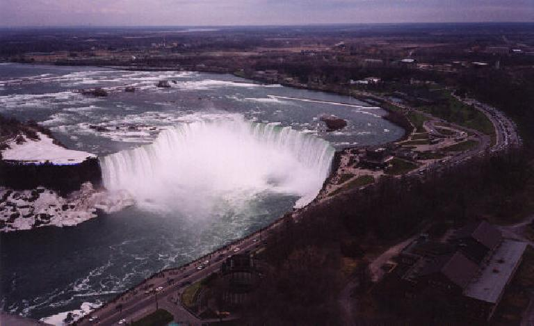 The Canadian Falls viewed from the top of the Skylon Tower.