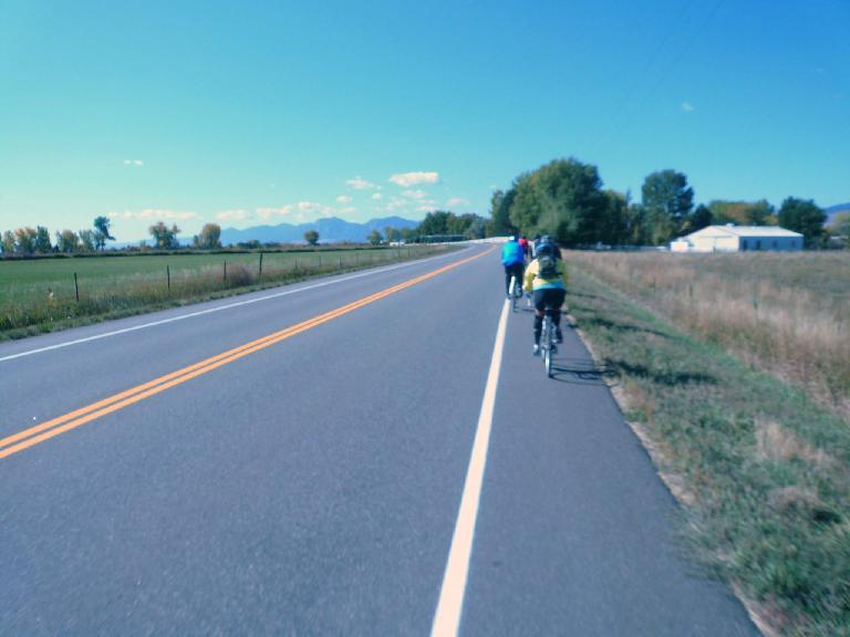 [Mile 34, 10:38 a.m.] Back on the road through green countryside.