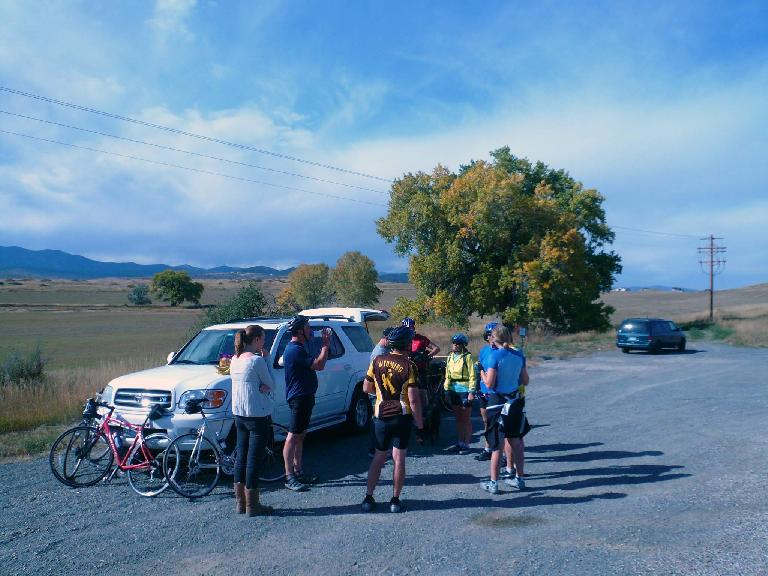 "[Mile 75, 2:47p] Stopping for cookies and refreshments at an impromptu ""rest stop"" in Berthoud."
