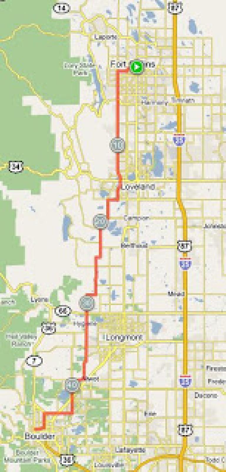 Noodles-to-Noodles route, Fort Collins to Boulder