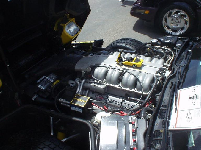 The Lotus-developed ZR1 engine from the late 80s or early 90s.  Back then this dual-overhead-cam engine with four valves per cylinder put out almost 400 HP, which is still a lot.  Amazingly the base model C6 of today exceeds that!