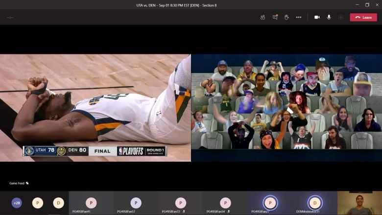 A Utah Jazz player lying on the floor in dismay at the end of the Utah vs. Denver Game 7 of the 2020 NBA playoffs. Shown are some virtual fans via Microsoft Teams.