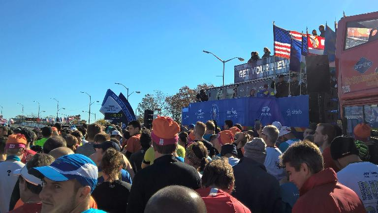 The national anthem about to be sung at the Wave 2A start of the 2016 New York City Marathon.