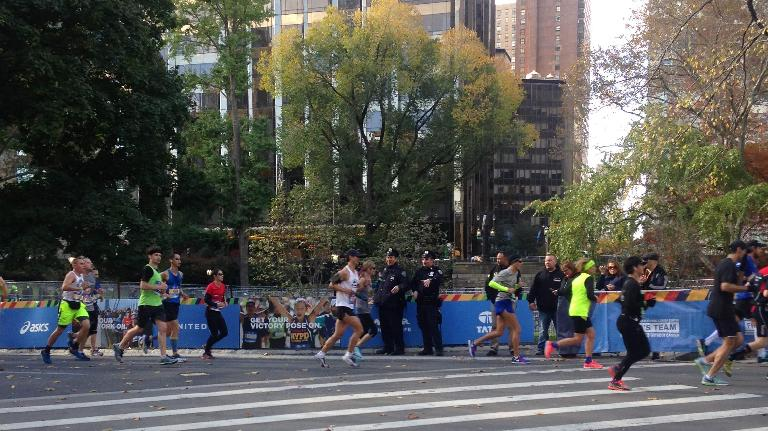 [Mile 26] Running the final quarter-mile of the 2016 New York City Marathon.