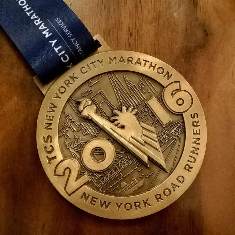 The finishers' race medal for the 2016 New York City Marathon.