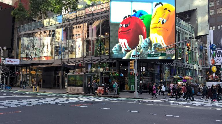 The M&M's store off Broadway St.