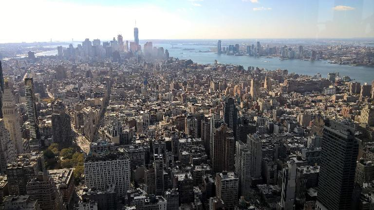 The view of Manhattan to the south from near the top of the Empire State Building.