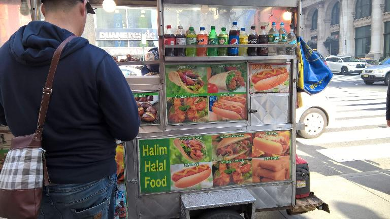 Hot dog stands are everywhere in New York City.