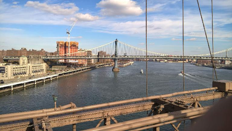 The Manhattan Bridge as viewed from the Brooklyn Bridge.