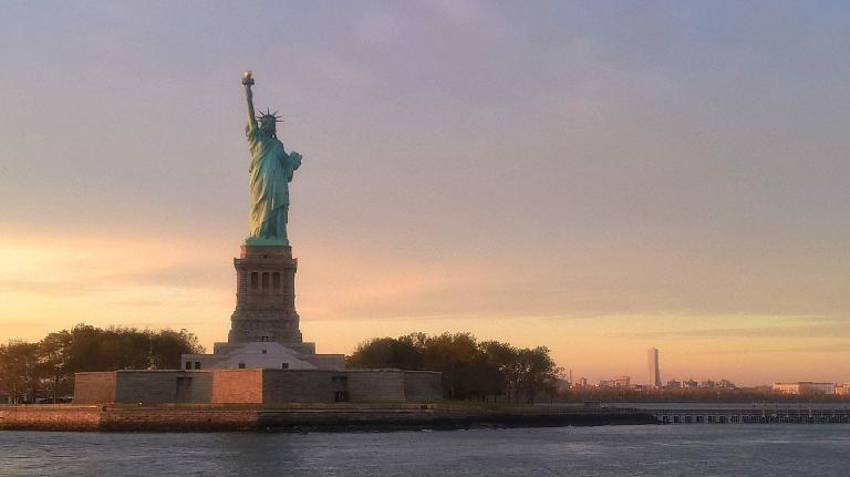 The Statue of Liberty as viewed from a ferry boat.
