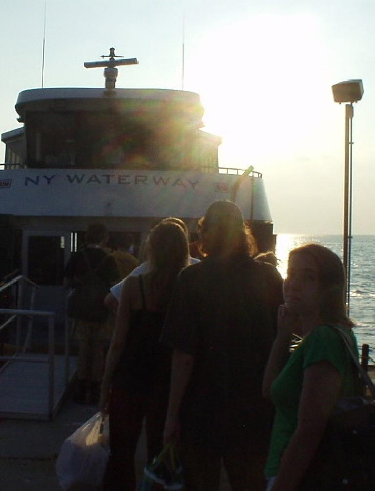 Boarding the ferry back to Manhattan from Sandy Hook.  Carolyn may not look too happy in this photo but she actually is.  Really.