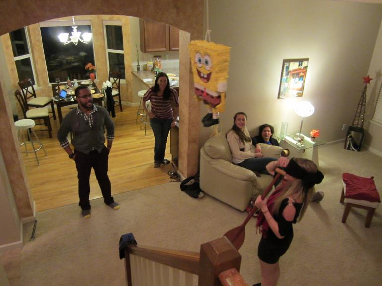 Noelle prepares to give SpongeBob a swing.