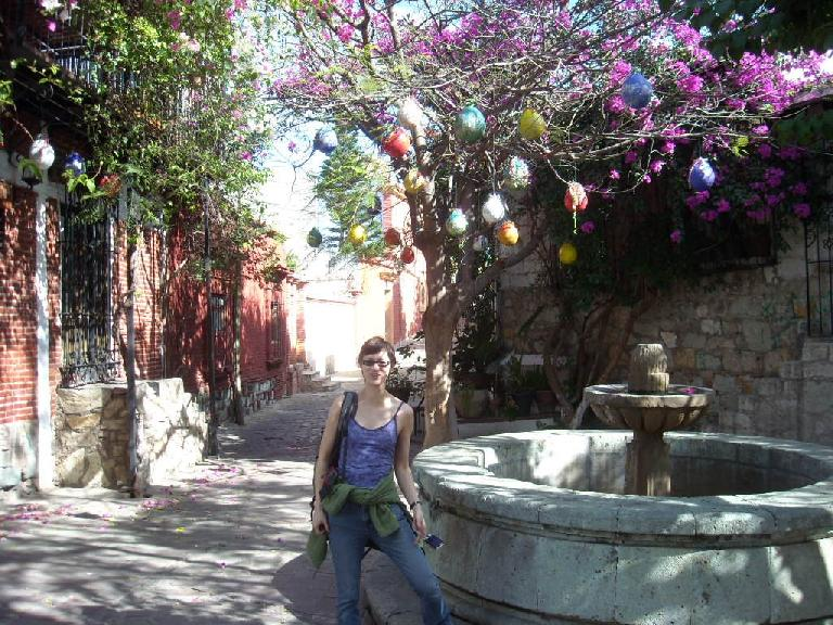 Sarah in front of a fountain in the Cultural Center of Santo Domingo area.