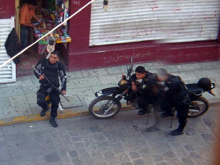 Policemen with assault rifles outside the museum.  There were lots of armed police around Oaxaca.