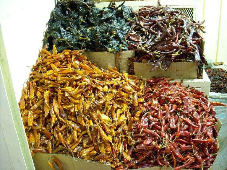 Different types of chiles.