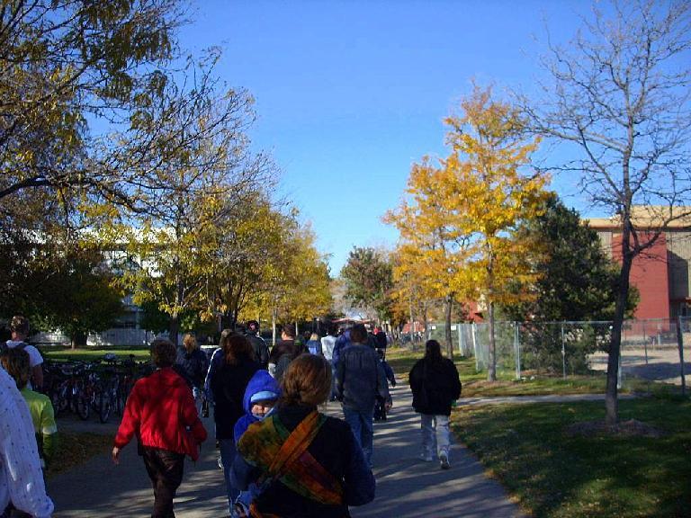 Still walking through campus.