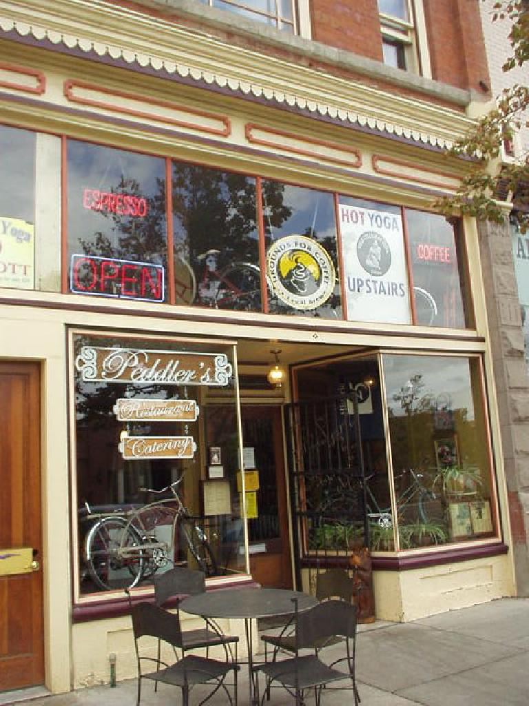 There may be bikes in the window, but upstairs is actually a Hot Yoga shop and downstairs is an eatery.