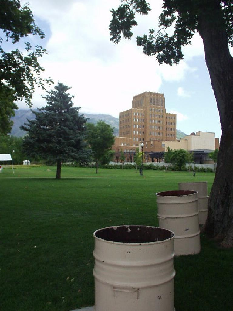 Park, bulding, and the mountains.