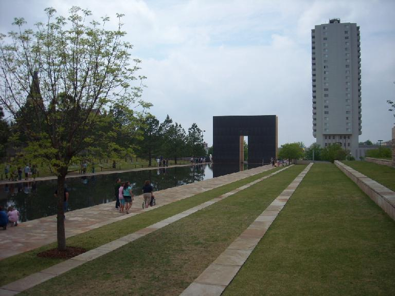 Reflections of the OKC National Memorial.