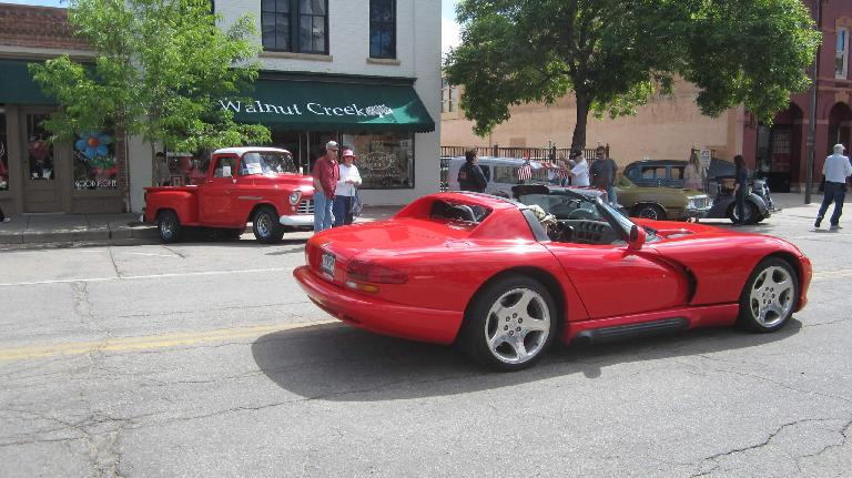 red Dodge Viper, vintage red pickup truck