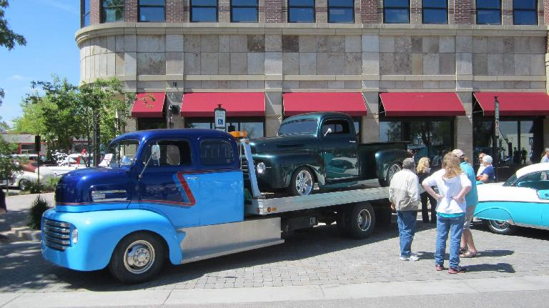blue two-tone vintage tow truck, green vintage Ford pickup truck