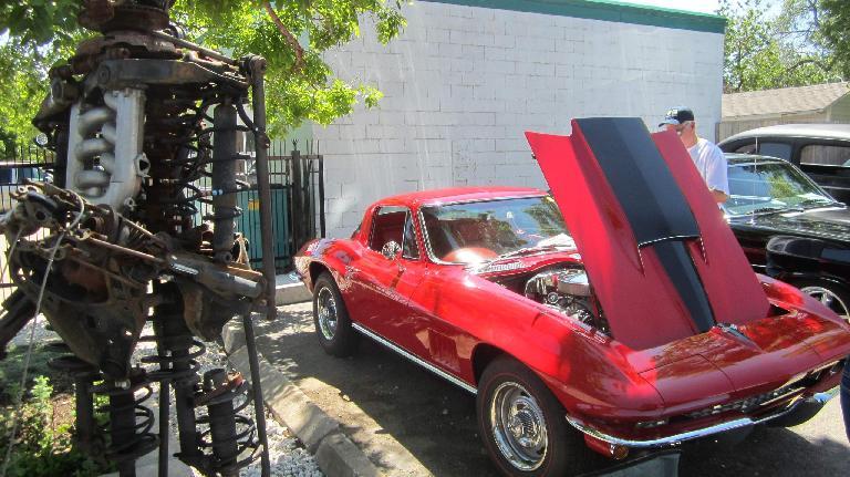 engine art, red 1960s Corvette coupe, Nelsen'