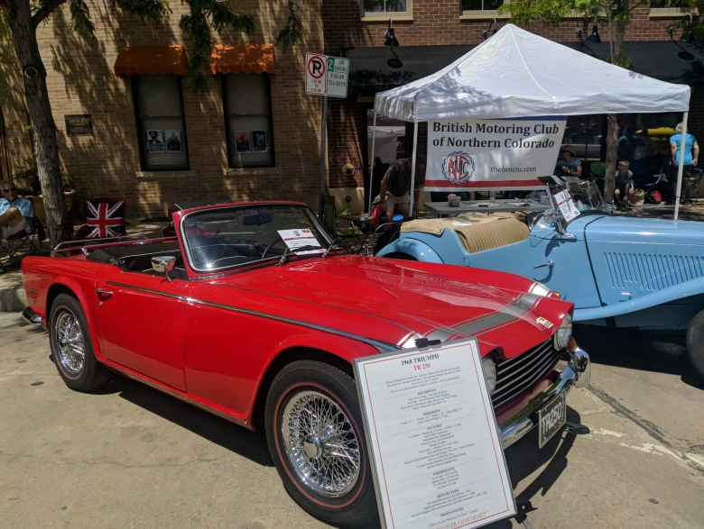 A red Triumph TR250 and light blue MG TD were on hand to help represent the British Motoring Club of Northern Colorado.