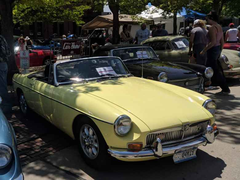 This pale primrose yellow MGB looked just like my former MGB. It was even a 1969! No wire wheels though (a good thing---less flats).