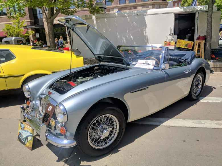 A two-tone silver/white Austin Healey 3000.