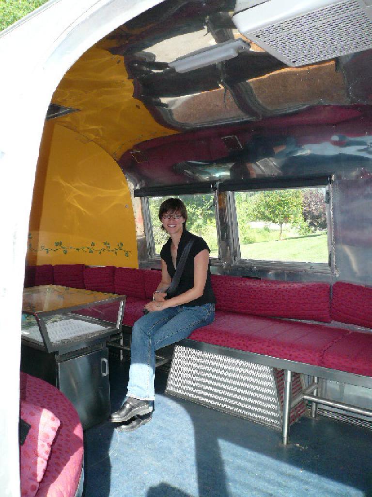 Sarah inside the Airstream.