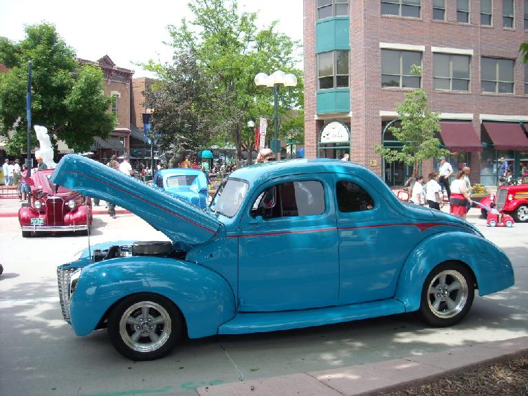 Turquoise hot rod... a Chevy, I think.