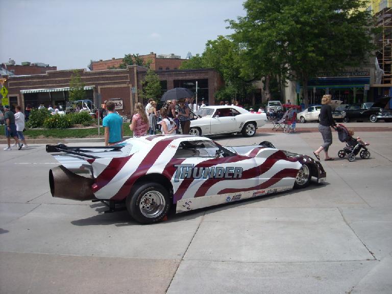 Drag race car with rocket engine.